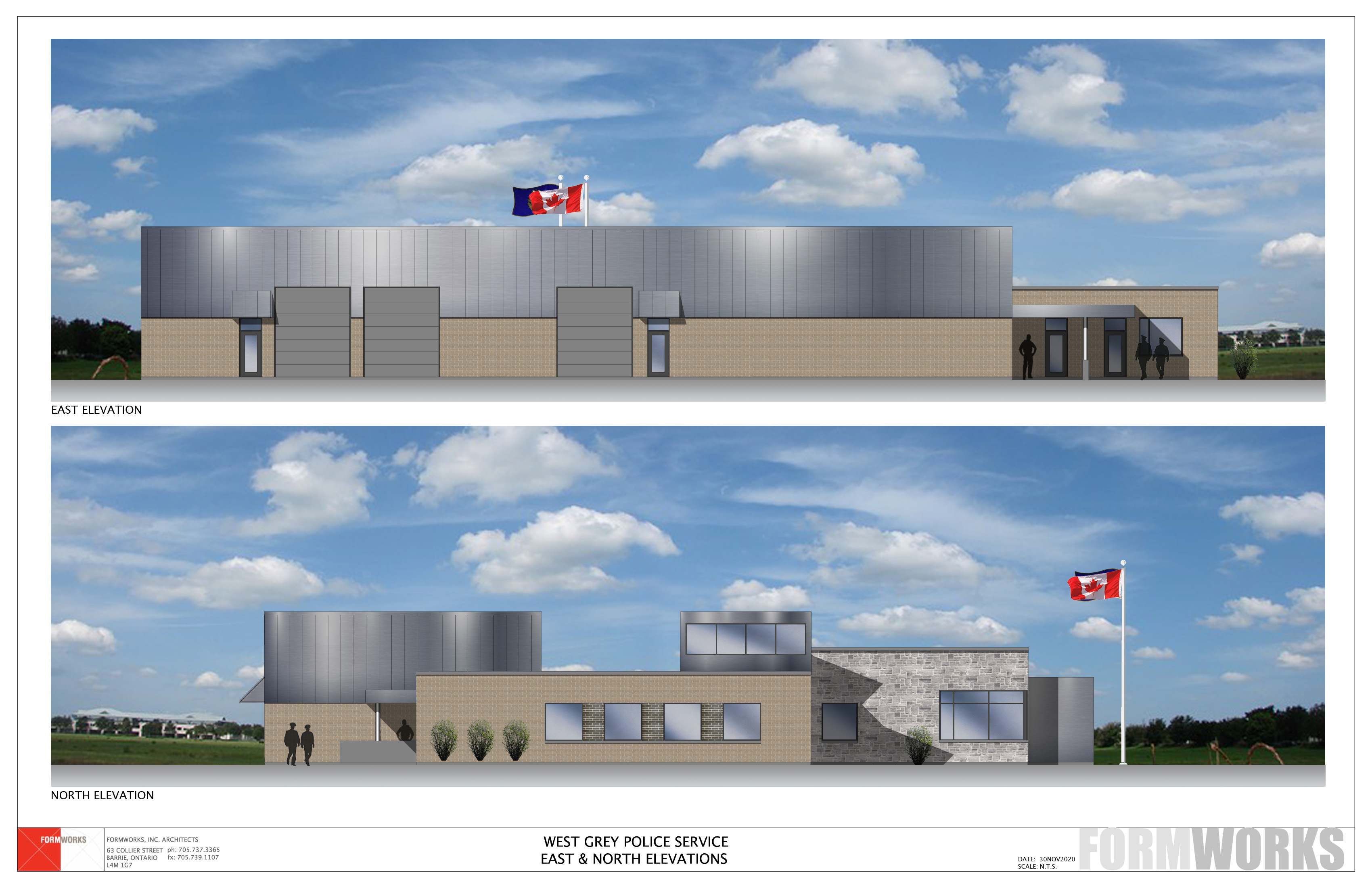 Architect rendering of new West Grey Police Services building